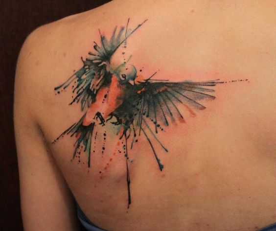 Hovering Red-Breasted Bird Shoulder Tattoo