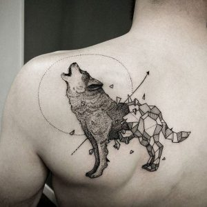Howling Wolf with Chipped Geometric Body Shoulder Tattoo