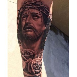 Jesus with Crown of Thorns and Roses Forearm Sleeve Tattoo