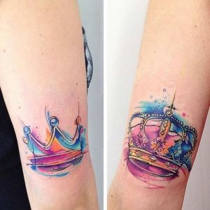 Lovely Watercolor Crowns Arm Tattoos