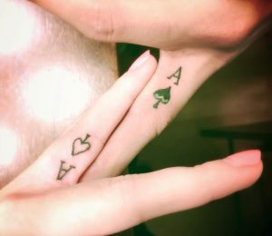 Matching Ace of Spades Finger Tattoo