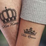 Monochrome King And Queen Of Hearts Tattoos