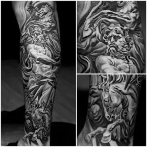 Neptune with His Sea Chariot Full Sleeve Tattoo