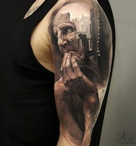 Old Man's Thoughts Full Sleeve Realism Tattoo
