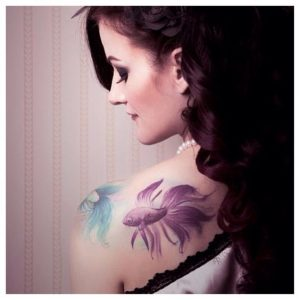Purple and Turquoise Kois Shoulder Tattoo