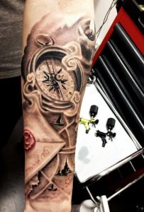 Realistic Compass with Traditional Letter Forearm Tattoo