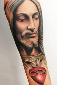 Red Sacred Heart of Jesus Forearm Tattoo