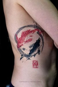 Red and Black Koi Side Tattoo