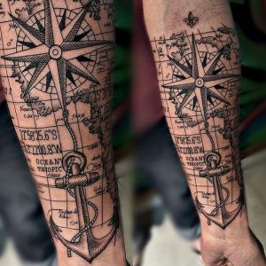Simple Compass Tattoo on Map and with Anchor