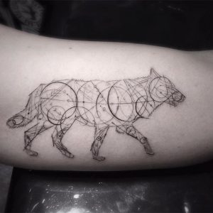 Sketchy Geometric Wolf in Circles Bicep Tattoo