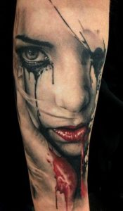 Smudged Makeup on Woman's Face Arm Realism Tattoo