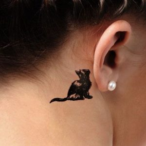 Solid Black Kitten at the Back of the Ear Tattoo