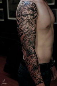 Solid Black Neptune and his Steed Full Sleeve Tattoo