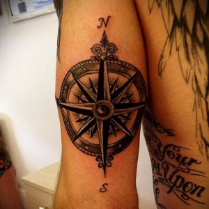 Traditional Compass Bicep Tattoo