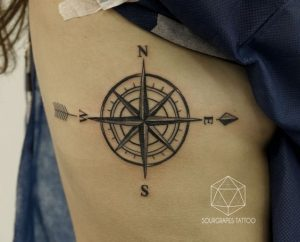 Traditional Compass Side Tattoo with Arrow Parts
