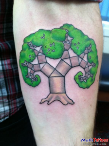 Two Comically Illustrated Fractals Calf Tattoo