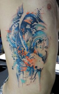 Watercolor Abstract Koi Side Tattoo