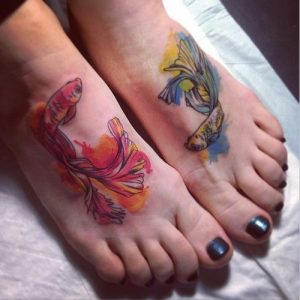 Watercolor Matching Fishes Foot Tattoo