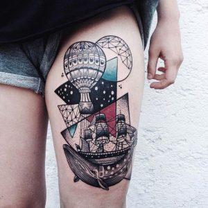 Whale Expedition Surrealism Thigh Tattoo