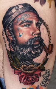 Bad-Ass Sailor on Pipe Arm Tattoo