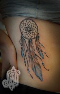 Blue Tip Feathered Dreamcatcher Side Tattoo