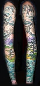 Colored Artistic Forest Waves and Curves Sleeve Tattoo
