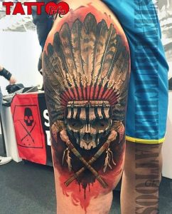 Colored Pirate Skull with Headdress Thigh Tattoo