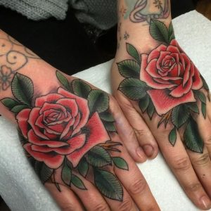 Colored Rose Hand Tattoo