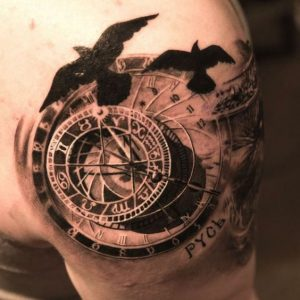 Compass and Star Map Shoulder Tattoo