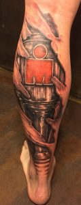 Cyborg Calf with Red Letter M Tattoo