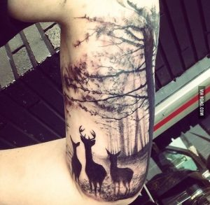 Deers in a Forest Sleeve Tattoo