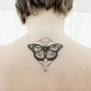Dotwork Butterfly Nape Tattoo