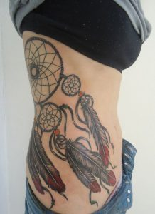 Dreamcatcher Body Tattoo with Red Tip Feathers
