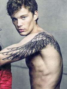 Few Layered Feather Wings Body Tattoo