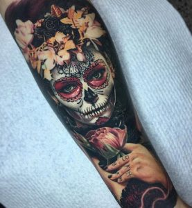 Floral Crowned Lady Forearm Tattoo