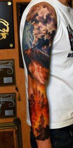 Forest Fire Due to Lightning Sleeve Tattoo