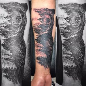 Forest in the Bear's Negative Space Sleeve Tattoo