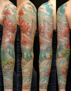 Full Colored Earth's Ecosphere Sleeve Tattoo