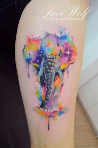 Gray-Trunked Watercolor Elephant Thigh Tattoo