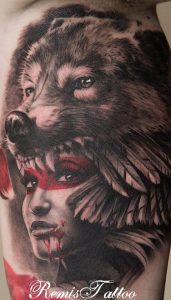 Indian Woman with Wolf Headdress Arm Tattoo