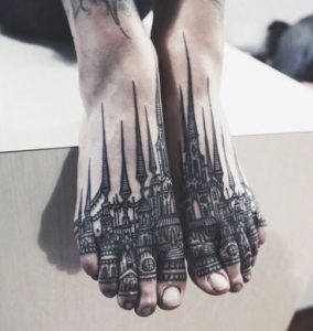 Intricate Building Foot Tattoos