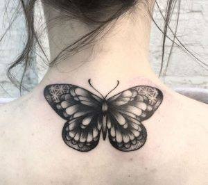 Intricate Butterfly Nape Tattoo