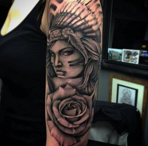 Lady with Headdress and a Rose Half Sleeve Tattoo