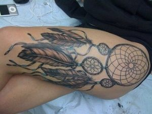 Large-Feathered Dreamcatcher Thigh Tattoo