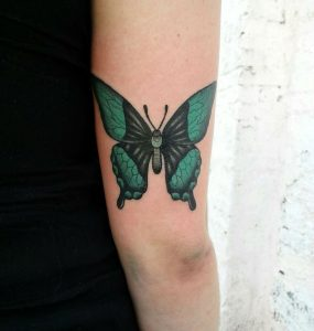 Lovely Green Butterfly Arm Tattoo