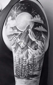 Majestic Nature Under The Light of the Night Sky Sleeve Tattoo