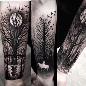 Moon and Horse Rider Negative Space Full Sleeve Tattoo