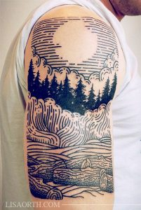 Moon on Forest Negative Space Half Sleeve Tattoo