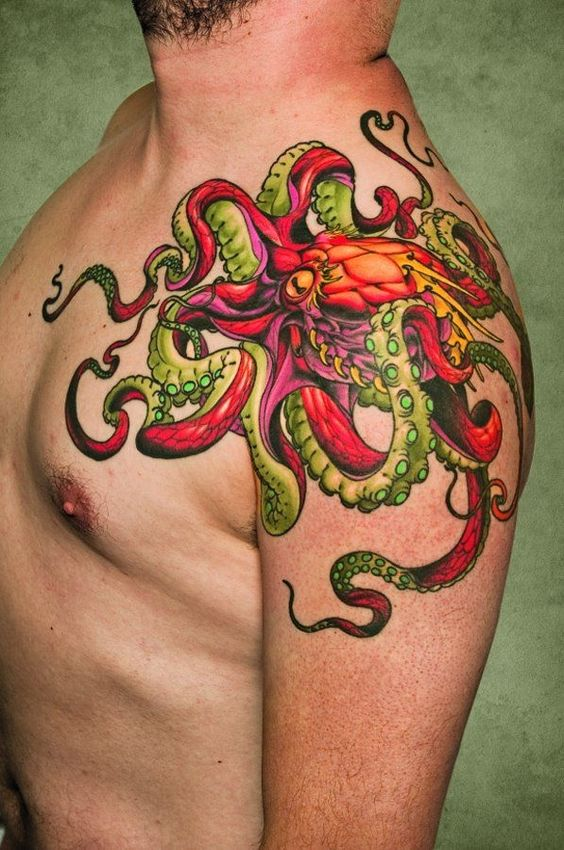 Neon-Colored Octopus Shoulder Tattoo