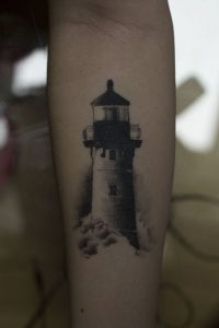 Old Lighthouse Forearm Tattoo